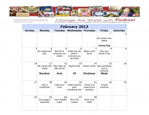 Feb Kindness Calendar